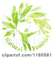 Clipart Of A Green Man With Leaves And Natural Product Text Royalty Free Vector Illustration by elena