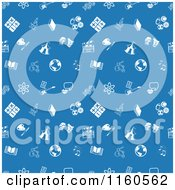 Clipart Of A Seamless Blue Background Of Educational Icons Royalty Free Vector Illustration