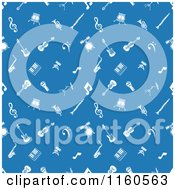 Clipart Of A Seamless Blue Background With White Music Icons Royalty Free Vector Illustration by AtStockIllustration