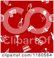 Clipart Of A Seamless Red Background With White Party Icons Royalty Free Vector Illustration