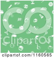 Clipart Of A Seamless Green Background With White Sports Icons Royalty Free Vector Illustration by AtStockIllustration