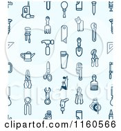 Clipart Of A Seamless Blue Background With Tool Icons Royalty Free Vector Illustration by AtStockIllustration