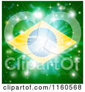 Clipart Of A Firework Burst Over A Brazil Flag Royalty Free Vector Illustration
