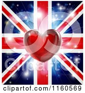 Clipart Of A Shiny Heart Over A Union Jack With Fireworks Royalty Free Vector Illustration by AtStockIllustration