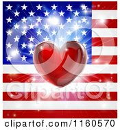 Clipart Of A Shiny Red Heart And Fireworks Over An American Flag Royalty Free Vector Illustration
