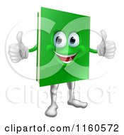 Cartoon Of A Pleased Green Book Mascot Holding Two Thumbs Up Royalty Free Vector Clipart