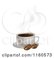 Hot Cup Of Coffee With Beans