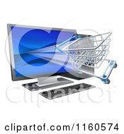 Clipart Of A 3d Shopping Cart Flying Through A Desktop Computer Screen Royalty Free Vector Illustration by AtStockIllustration