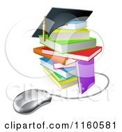 Clipart Of A Colorful Stack Of Books With A Graduation Cap And Computer Mouse Royalty Free Vector Illustration by AtStockIllustration