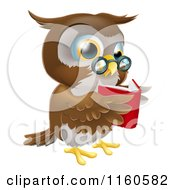 Cartoon Of A Wise Owl Reading A Book Royalty Free Vector Clipart by AtStockIllustration