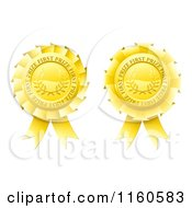 Clipart Of Golden First Price Medal Rosettes Royalty Free Vector Illustration by AtStockIllustration