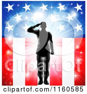 Clipart Of A Silhouetted Soldier Saluting Over Fireworks And An American Flag Royalty Free Vector Illustration by AtStockIllustration