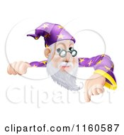 Clipart Of A Friendly Male Wizard Looking Over And Pointing Down At A Sign Royalty Free Vector Illustration