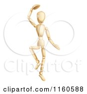 Clipart Of A Dancing Wooden Mannequin Royalty Free Vector Illustration