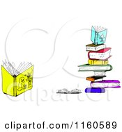Cartoon of a Stack of Books with One Open Book on the Side - Royalty Free Vector Clipart by tdoes