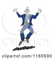Sketched Happy Businessman Jumping Up And Down