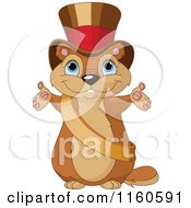 Cartoon Of A Cute Presenting Groundhog Wearing A Sash And Top Hat Royalty Free Vector Clipart