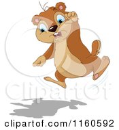 Cartoon Of A Cute Groundhog Jumping And Pointing At Its Shadow Royalty Free Vector Clipart
