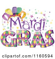Cartoon Of Mardi Gras Text With A Jester Hat And Stars Royalty Free Vector Clipart by Pushkin