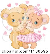 Cartoon Of A Cute Valentine Teddy Bear Couple Hugging Royalty Free Vector Clipart by Pushkin