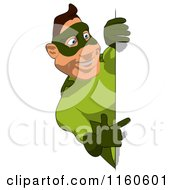 Clipart Of A Super Hero Man In Green Pointing To A Sign Royalty Free CGI Illustration