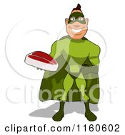 Clipart Of A Super Hero Man Holding A Steak Royalty Free CGI Illustration