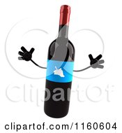 Clipart Of A 3d Jumping Wine Bottle Mascot With A Blue Label Royalty Free CGI Illustration
