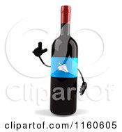 Clipart Of A 3d Smart Wine Bottle Mascot With A Blue Label Royalty Free CGI Illustration