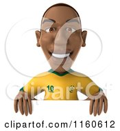 Clipart Of A 3d Brazilian Soccer Player With A Sign 2 Royalty Free CGI Illustration