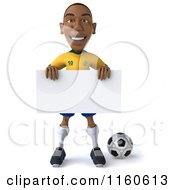 Clipart Of A 3d Brazilian Soccer Player With A Sign Royalty Free CGI Illustration