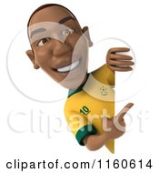 Clipart Of A 3d Brazilian Soccer Player With A Sign 3 Royalty Free CGI Illustration
