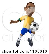 Clipart Of A 3d Brazilian Soccer Player 2 Royalty Free CGI Illustration