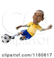 Clipart Of A 3d Brazilian Soccer Player 3 Royalty Free CGI Illustration