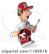 Clipart Of A 3d Walking Mechanic In Red Overalls Carrying Tools Royalty Free CGI Illustration