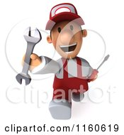 Clipart Of A 3d Running Mechanic In Red Overalls Carrying Tools Royalty Free CGI Illustration