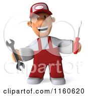 Clipart Of A 3d Happy Mechanic In Red Overalls Royalty Free CGI Illustration