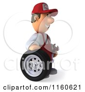 Clipart Of A 3d Mechanic Standing By A Tire Royalty Free CGI Illustration by Julos