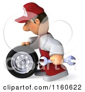 Clipart Of A 3d Mechanic Rolling A Tire Royalty Free CGI Illustration by Julos