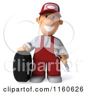 Clipart Of A 3d Mechanic In Red Overalls Standing By A Tire Royalty Free CGI Illustration by Julos