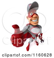 Clipart Of A 3d Super Hero Mechanic Holding A Thumb Up Royalty Free CGI Illustration