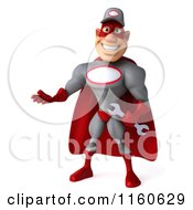 Clipart Of A 3d Presenting Super Hero Mechanic Royalty Free CGI Illustration
