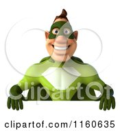 Clipart Of A 3d Super Hero Man In A Green Costume Holding A Sign Royalty Free CGI Illustration