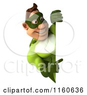 Clipart Of A 3d Super Hero Man In A Green Costume Holding A Sign 2 Royalty Free CGI Illustration