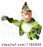 Clipart Of A 3d Flying Super Hero Man In A Green Costume 2 Royalty Free CGI Illustration