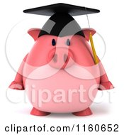 3d Graduation Pig Wearing A Cap And Tassel