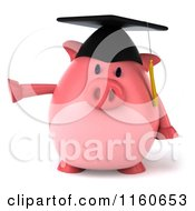 Clipart Of A 3d Pointing Graduation Pig Wearing A Cap And Tassel Royalty Free CGI Illustration