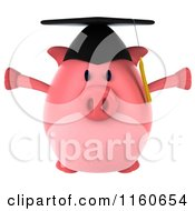 Clipart Of A 3d Jumping Graduation Pig Wearing A Cap And Tassel Royalty Free CGI Illustration