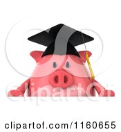 Clipart Of A 3d Graduation Pig Wearing A Cap And Tassel And Holding A Sign 3 Royalty Free CGI Illustration