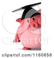 Clipart Of A 3d Graduation Pig Wearing A Cap And Tassel And Holding A Sign 2 Royalty Free CGI Illustration