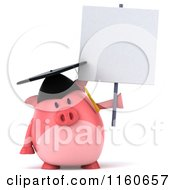 Clipart Of A 3d Graduation Pig Wearing A Cap And Tassel And Holding A Sign Royalty Free CGI Illustration